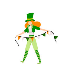 Girl in green irish costume celebrating saint vector