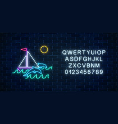 glowing neon summer sign with sailing ship vector image
