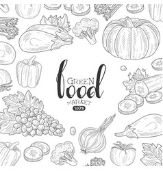 Green food market banner template can be used vector