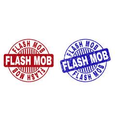 Grunge flash mob scratched round stamp seals vector