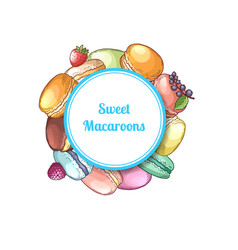 hand drawn macaroons vector image