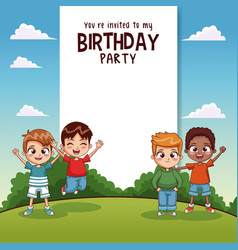 Happy birthday card with kids vector