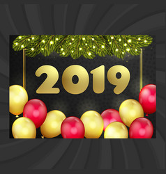 happy new year christmas card balloons garland vector image