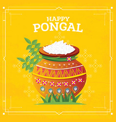 happy pongal harvest festival of tamil nadu south vector image