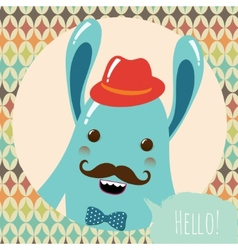Hipster Retro Monster Card Design vector