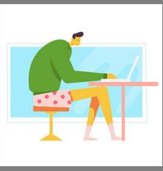 Home office workplace desk flat male modern vector