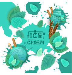 Ice cream with mint taste dessert colorful poster vector