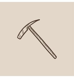 Ice pickaxe sketch icon vector image