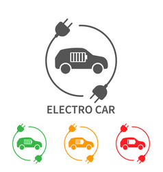 icons electric cars side view the vector image
