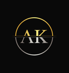 Initial circle ak letter with modern typography vector