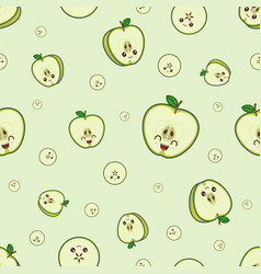 kawaii green apple pattern at green background vector image