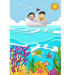 Kids rowing on paper boat vector