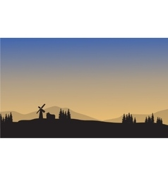Landscape village of silhouette vector