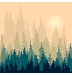 Landscape with silhouettes fir-trees vector