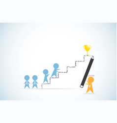 leader holding pencil to write ladder for team vector image