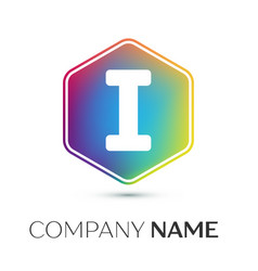 Letter i logo symbol in the colorful hexagonal on vector
