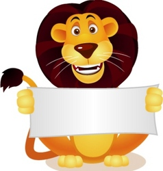 lion and blank sign vector image