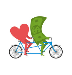 love and money in tandem selling love dollar and vector image