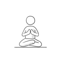 Man meditating in lotus pose sketch icon vector image