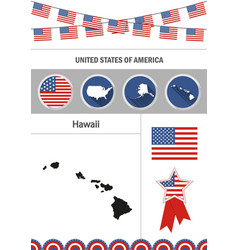 map of hawaii set of flat design icons vector image
