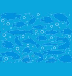 marine seamless background fish in the on vector image