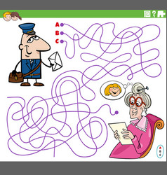 Maze game with cartoon postman and senior woman vector