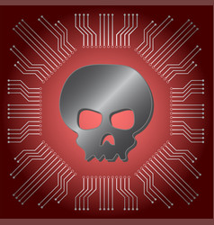 Metallic black skull on red mainboard vector