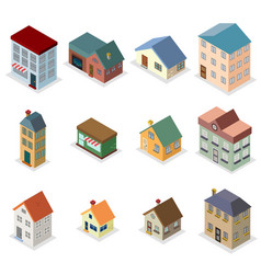 Modern trendy retro house street isometric design vector