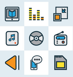 music icons colored line set with multimedia vector image