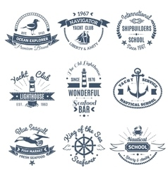 Nautical Marine Labels And Logos vector