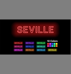 Neon name of seville city vector