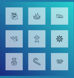new icons line style set with racing skates teddy vector image