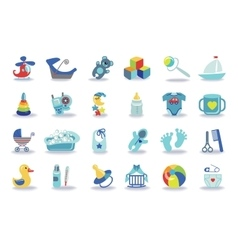 Newborn Baby boy icons setBaby shower kit vector image