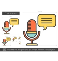 On air radio line icon vector