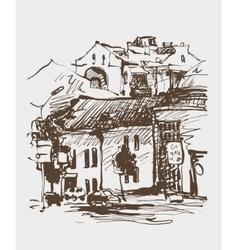 Original digital sepia sketch of Kyiv Ukraine vector