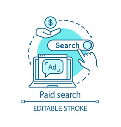 Paid search blue concept icon ppc channel idea vector