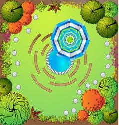 plan garden with symbols tree vector image