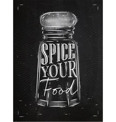 Poster pepper castor spice chalk vector