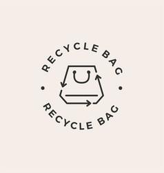 recycle shopping bag emblem label hipster vintage vector image