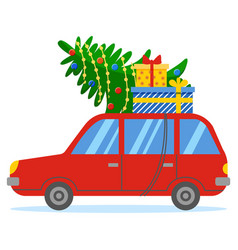 Red car with fir and boxes on roof xmas preparing vector