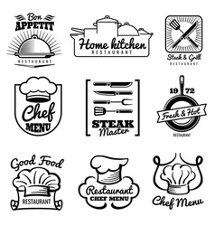 Restaurant vintage logo chef retro labels vector