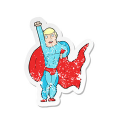 retro distressed sticker of a cartoon superhero vector image