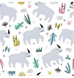 rhino flat hand drawn seamless pattern vector image