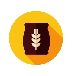 Sack of grain flat icon with long shadow vector image