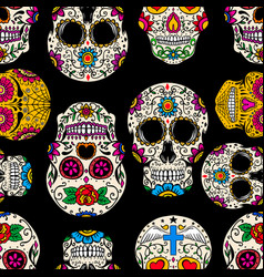 Seamless pattern with mexican sugar skulls design vector