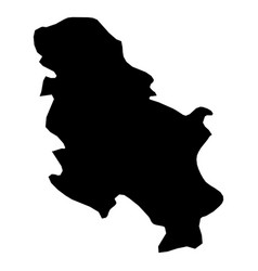 serbia - solid black silhouette map of country vector image