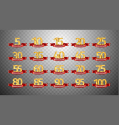 set of anniversary isolated numbers on transparent vector image