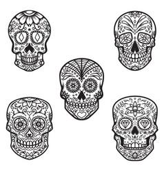 set of sugar skull isolated on white background vector image