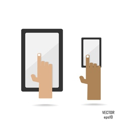 smartphone and tablate with hand vector image