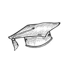 square academic cap sketch engraving vector image